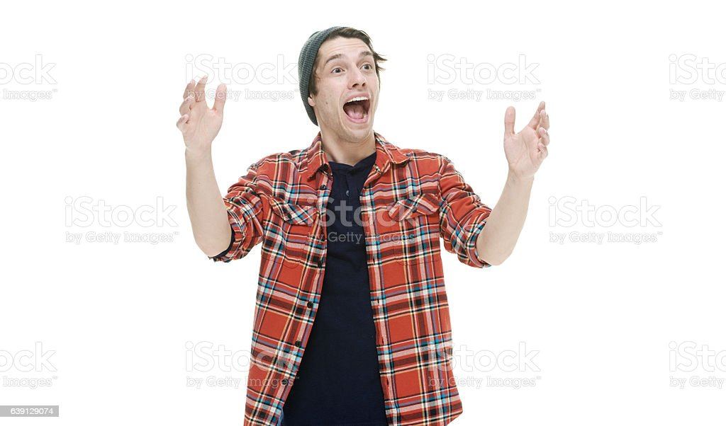 Cheerful hipster shouting stock photo