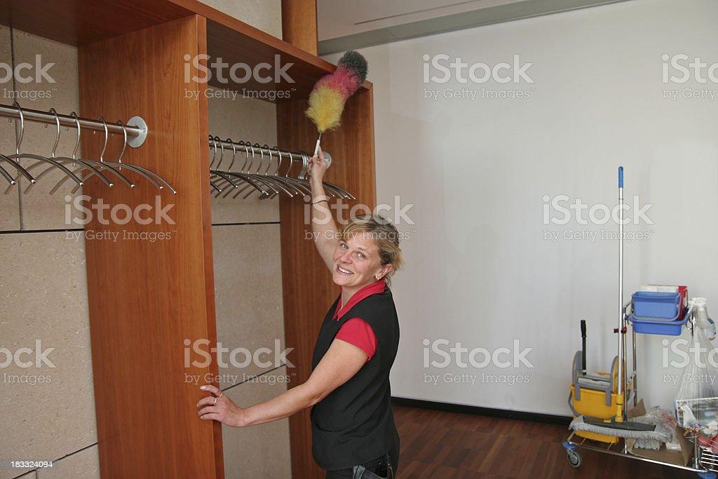 Cheerful Housekeeper stock photo