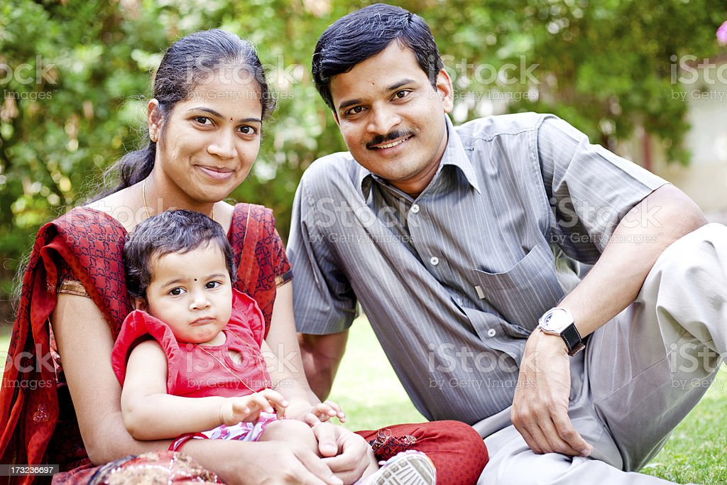 Cheerful Indian Asian Family of Three royalty-free stock photo