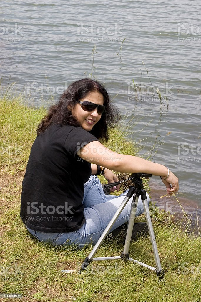 Cheerful Indian Asian Female Woman Photographer Tripod People Vertical Outdoor royalty-free stock photo