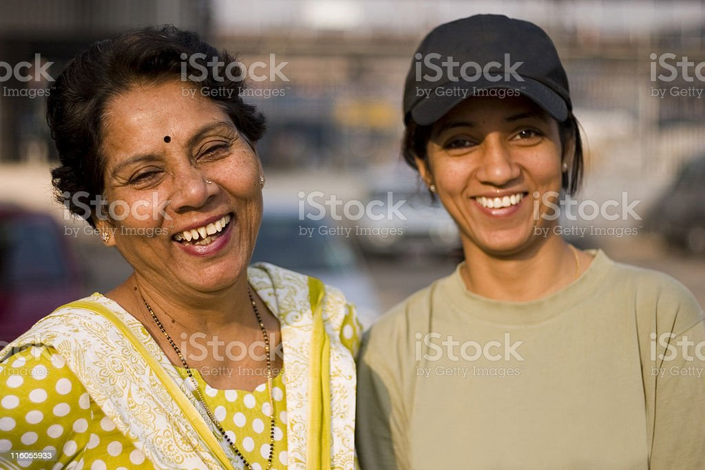 Cheerful Indian Asian Mother Daughter Female Woman People Horizontal Outdoor stock photo