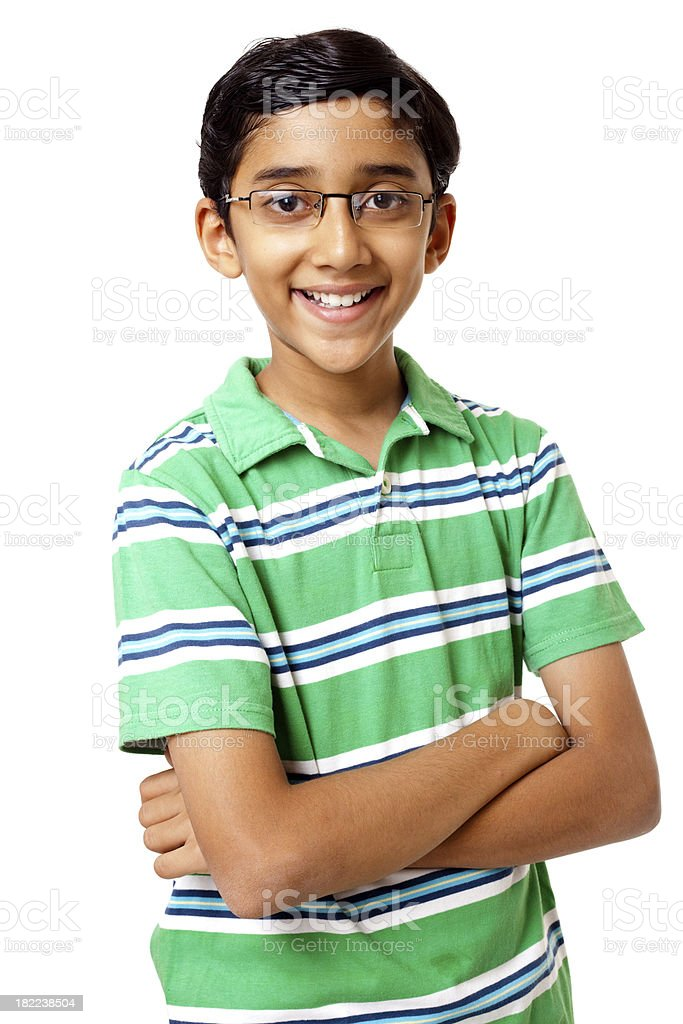 Cheerful Indian Boy Teenager isolated on White Background royalty-free stock photo