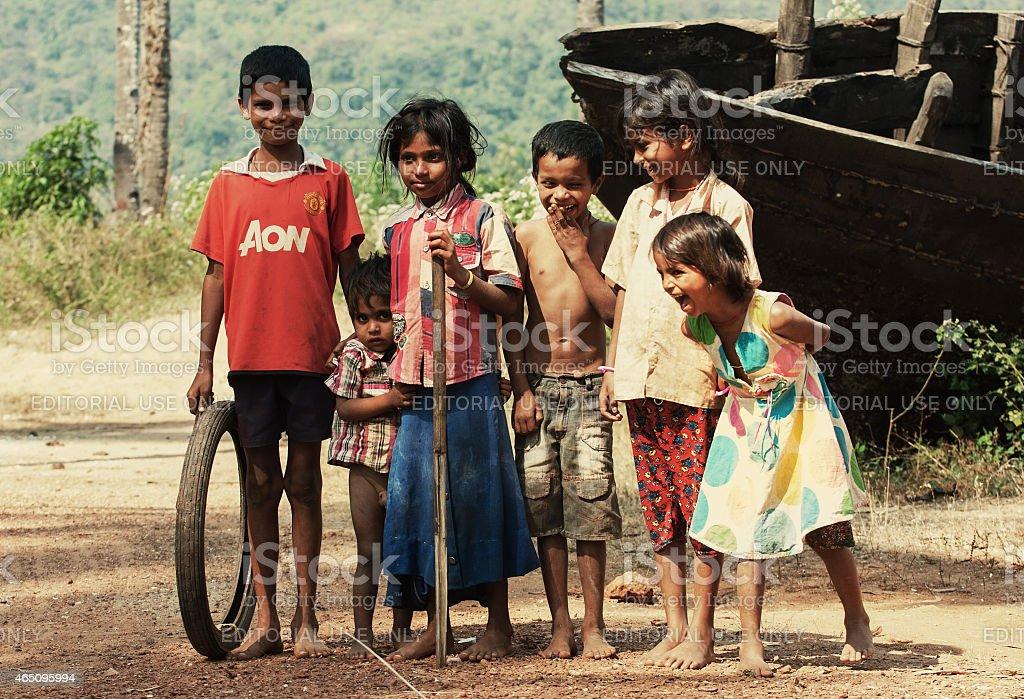 Cheerful Indian children stock photo