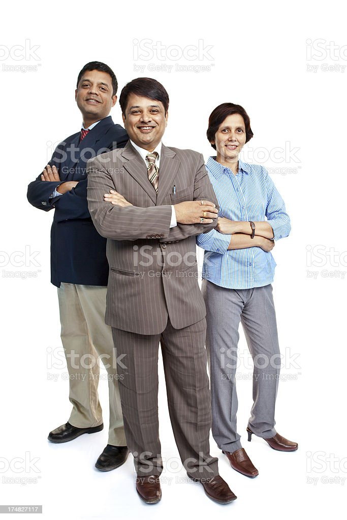 Cheerful Indian Corporate Business Team Full Length royalty-free stock photo