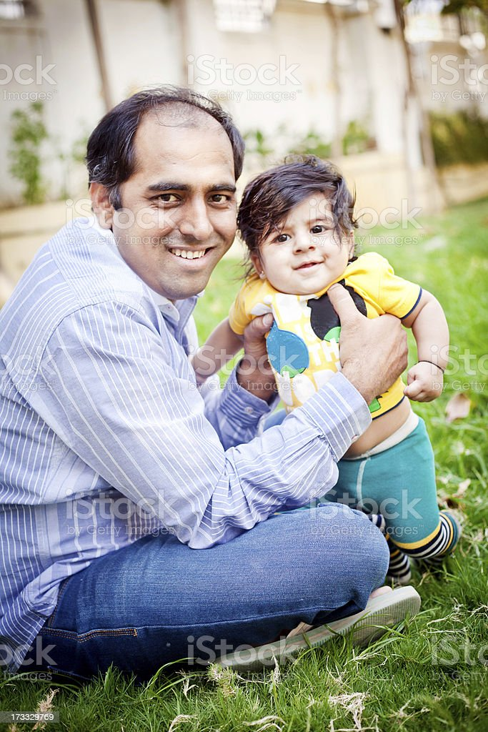 Cheerful Indian Father and Son royalty-free stock photo