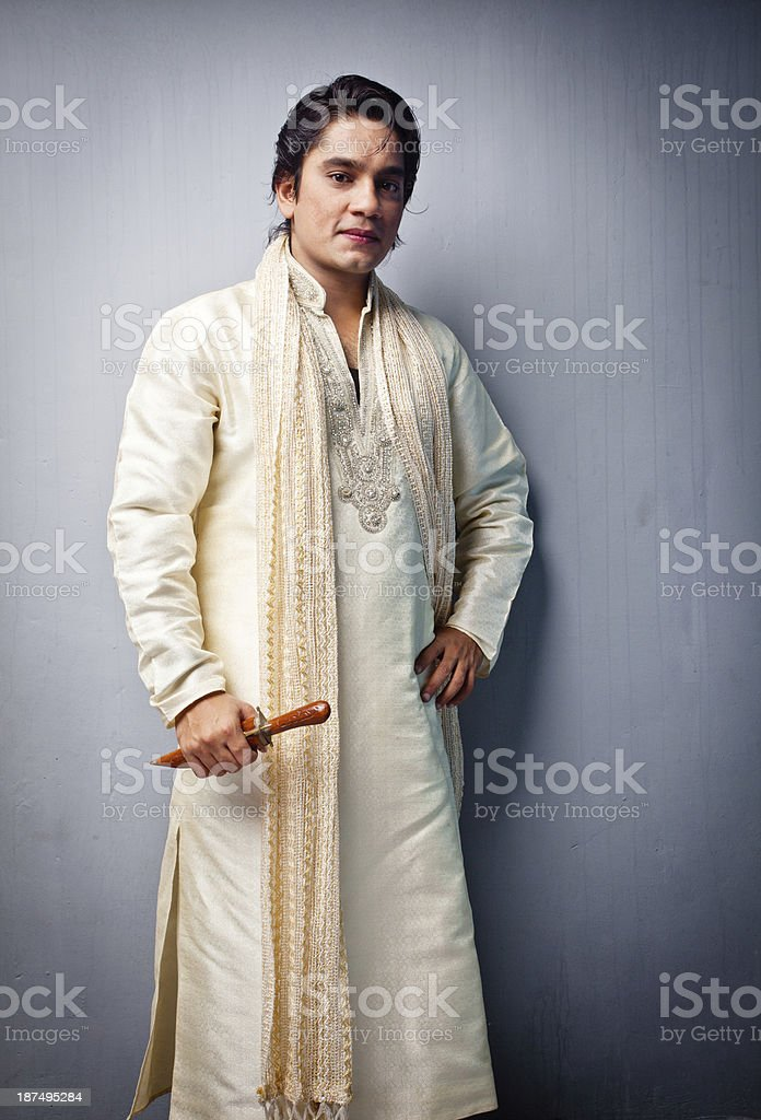 Cheerful Indian man in Traditional Clothing stock photo