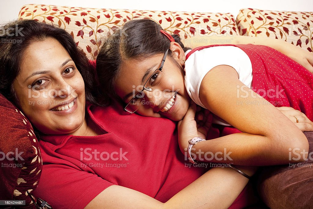 Cheerful Indian Mother and Daughter having fun at home royalty-free stock photo