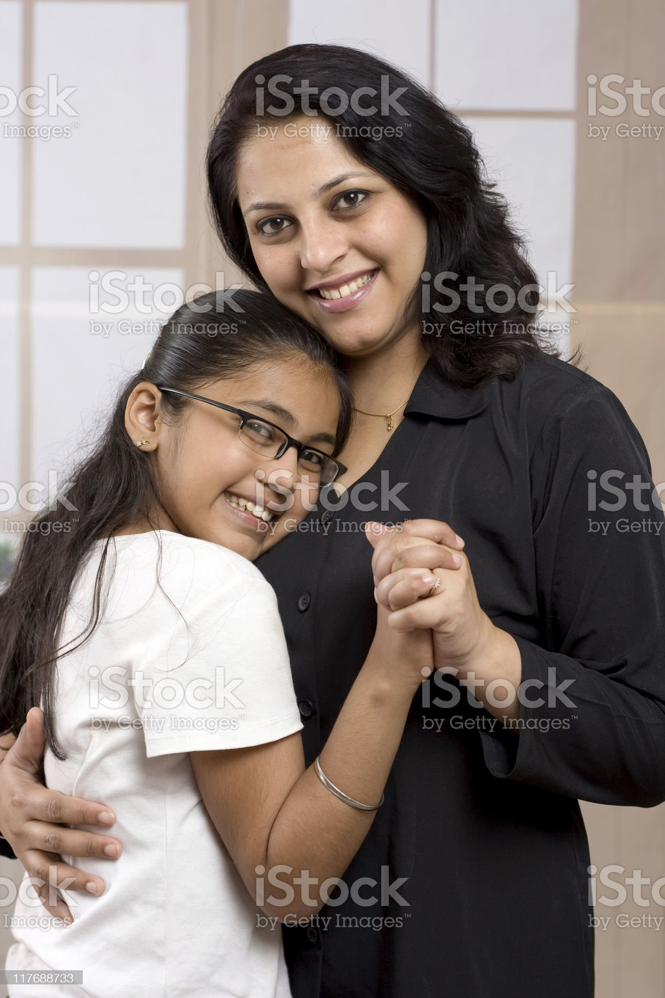Cheerful Indian Mother and Daughter royalty-free stock photo