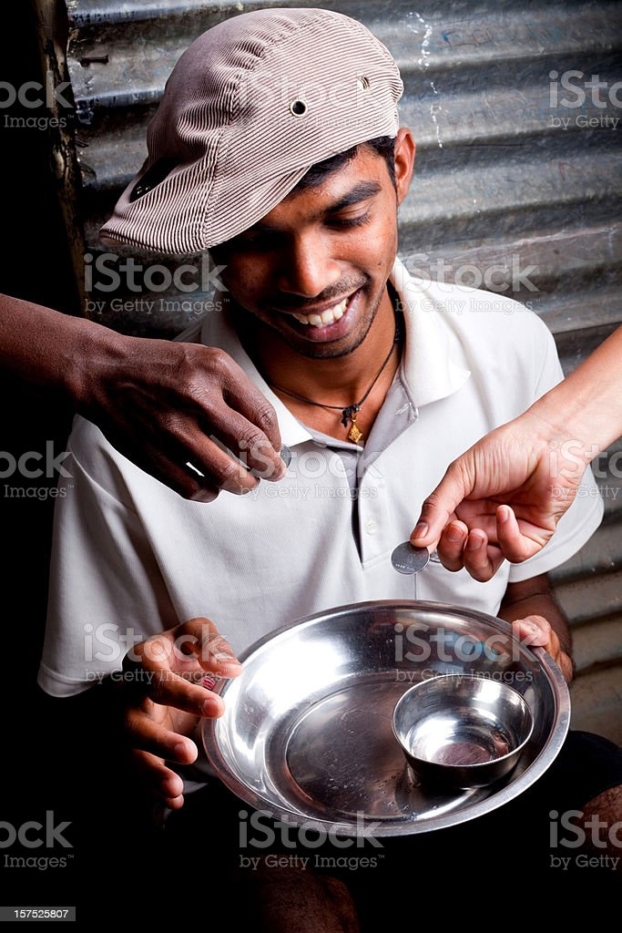 Cheerful Indian Youth Collecting Money Donations Help royalty-free stock photo