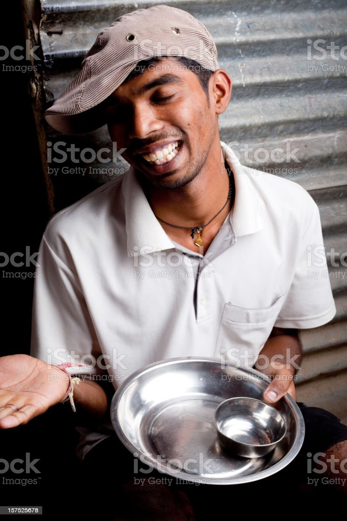 Cheerful Indian Youth with empty utensils royalty-free stock photo