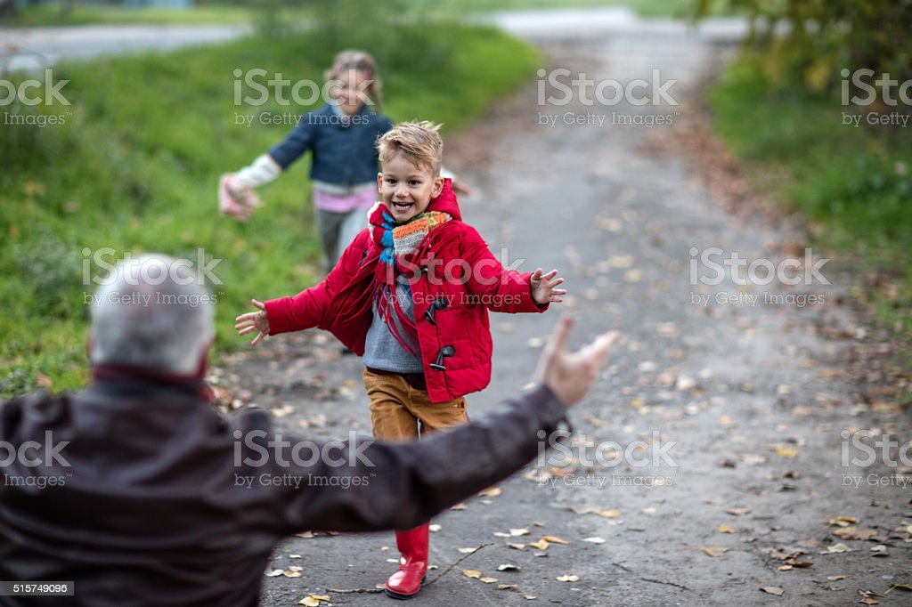 Cheerful kids running towards their grandparent in nature. stock photo