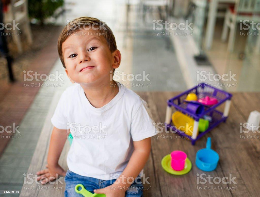 Cheerful Little Boy Outdoors Portrait stock photo