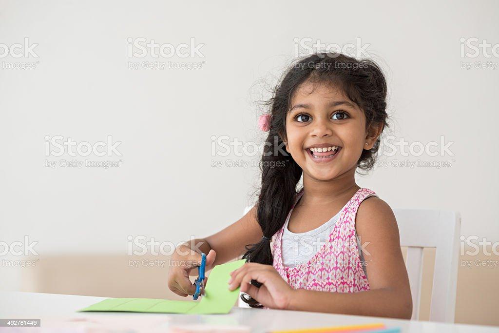 Cheerful little girl stock photo