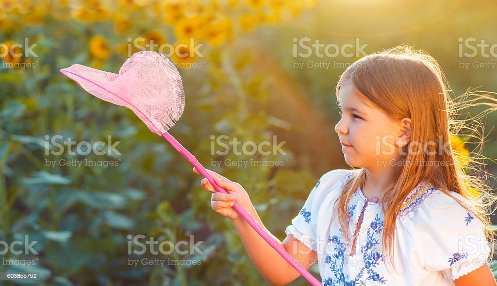 Cheerful little girl playing in a field with insect net stock photo