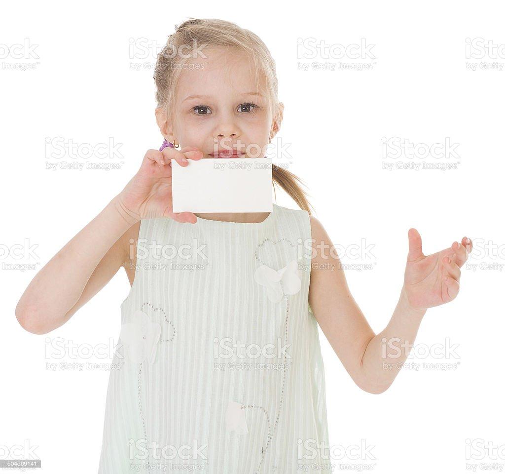 Joyeuse petite fille avec blanc vide photo libre de droits