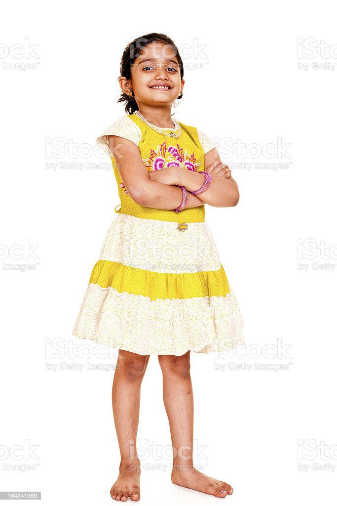 Cheerful Little Indian Girl Full Length Isolated Portrait royalty-free stock photo