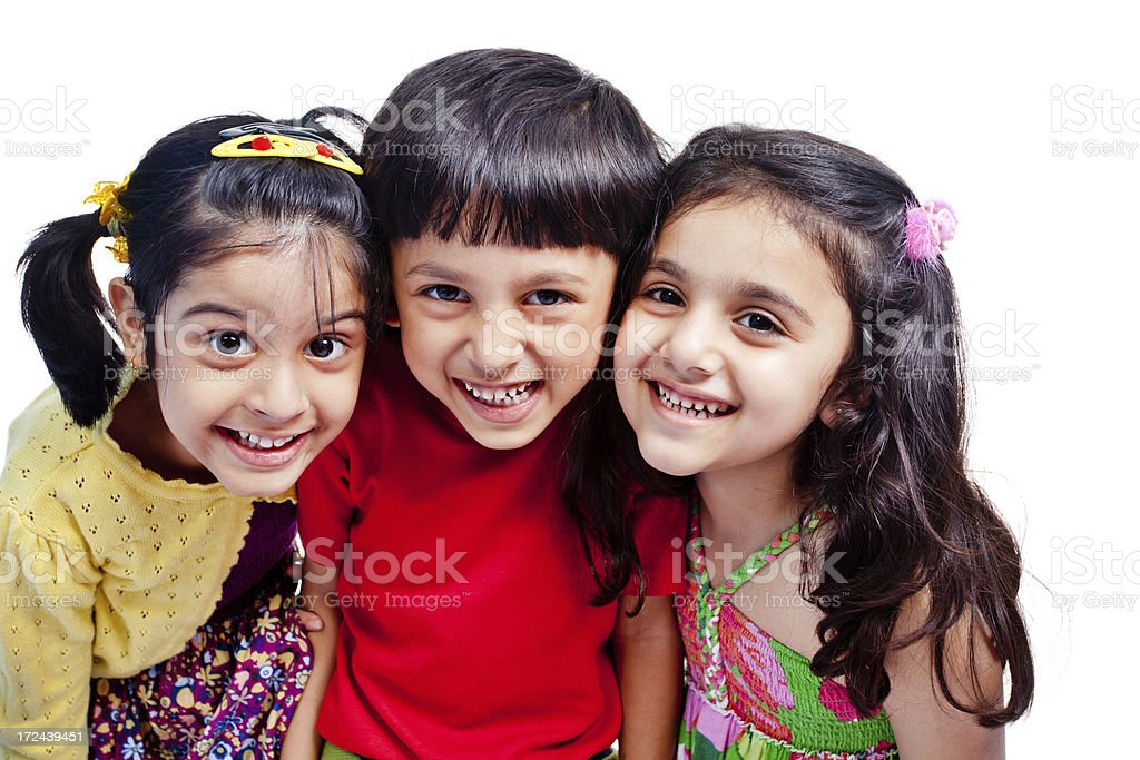 Cheerful Little Indian Girls and a Boy Isolated on White royalty-free stock photo