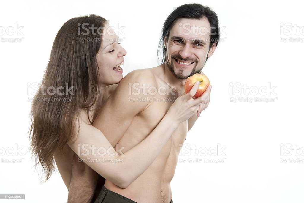 cheerful male and female eating apple royalty-free stock photo