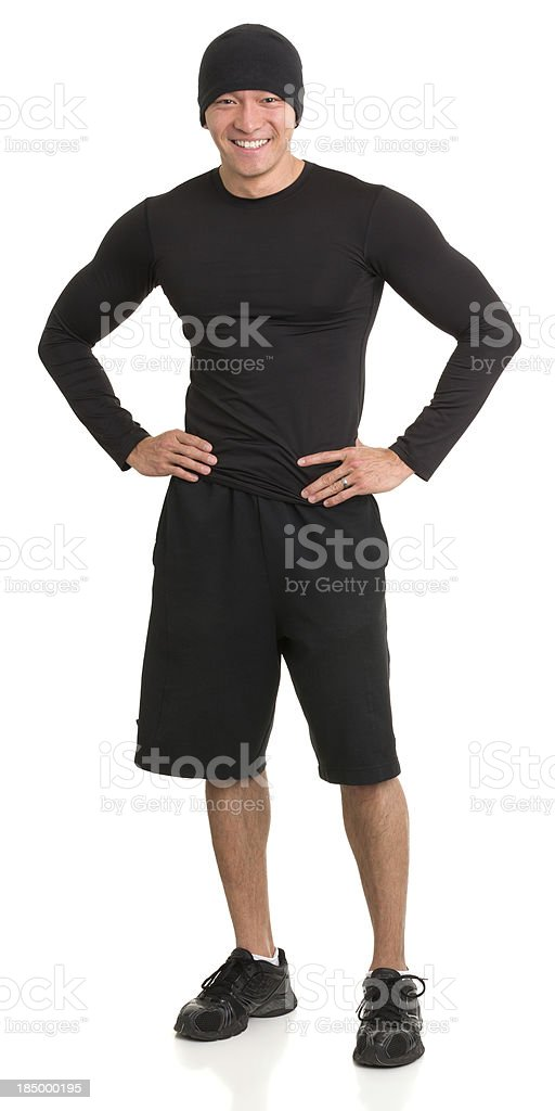 Cheerful Male Athlete Standing stock photo