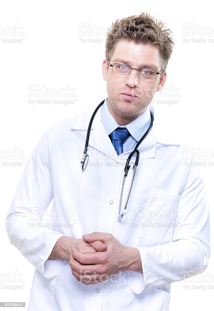 cheerful male doctor with stethoscope. Isolated royalty-free stock photo