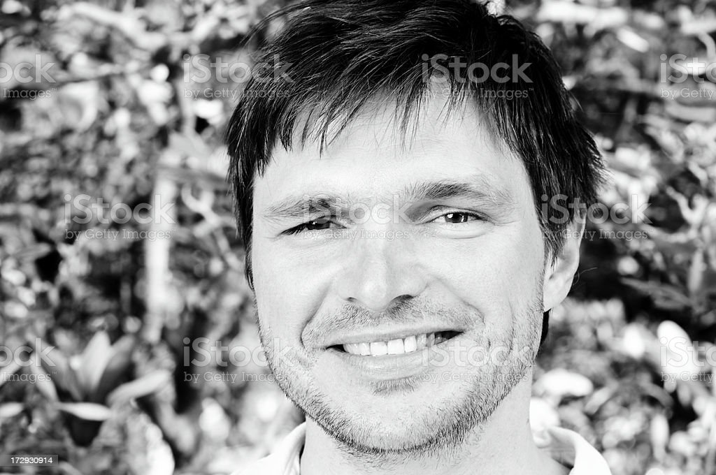 cheerful man bw royalty-free stock photo