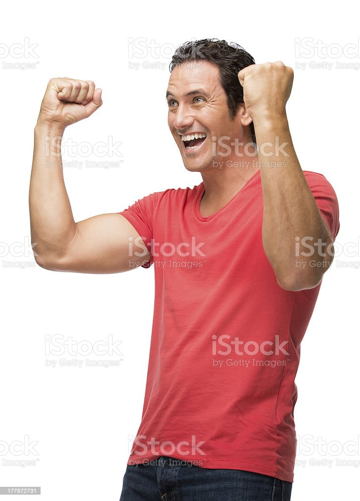Cheerful man celebrating royalty-free stock photo