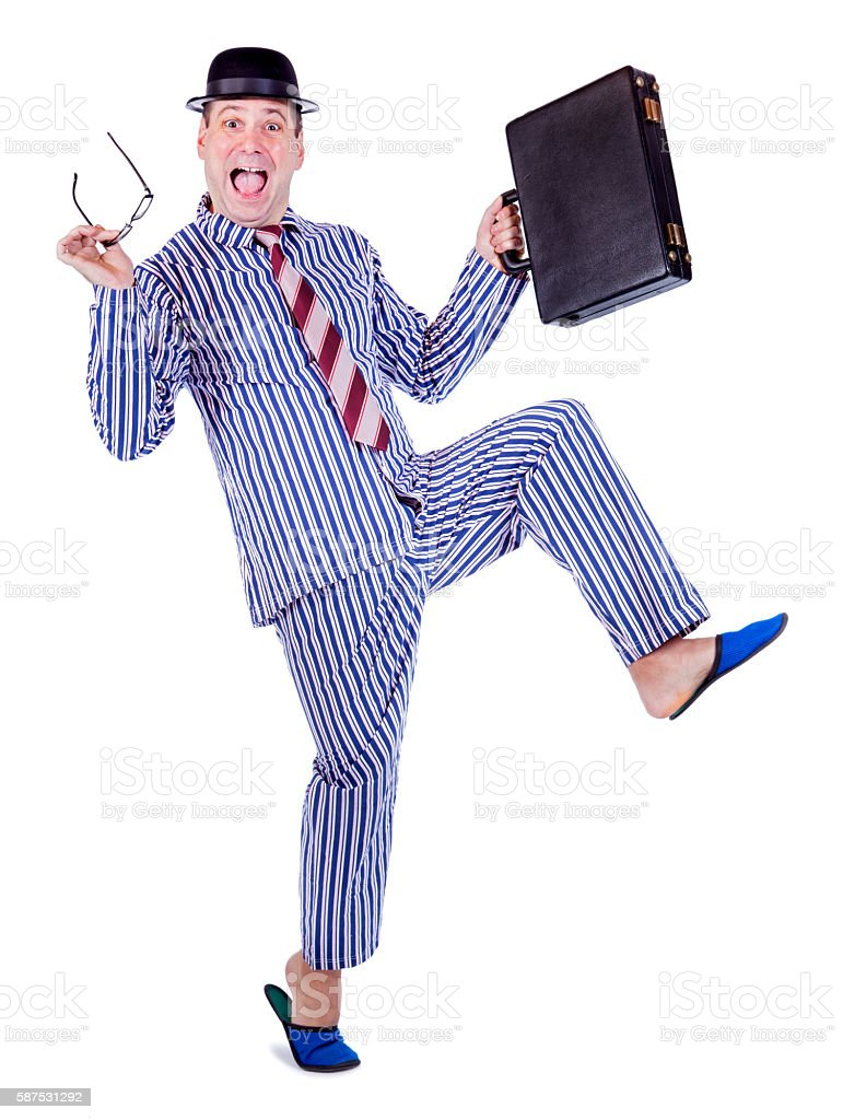 cheerful man in pajamas stock photo