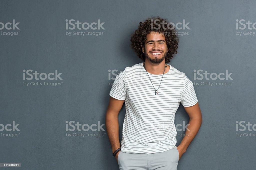 Cheerful man smiling stock photo