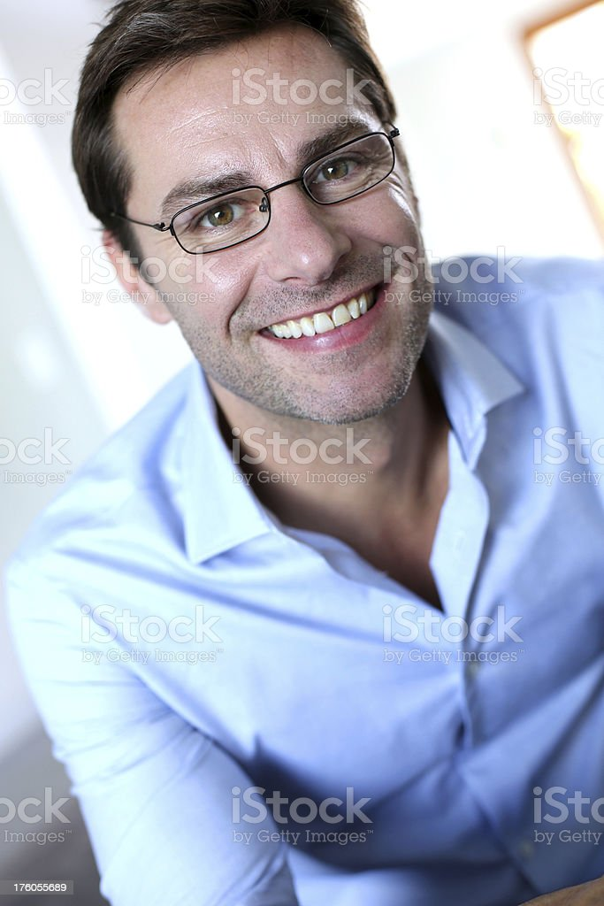 Cheerful man with eyeglasses royalty-free stock photo