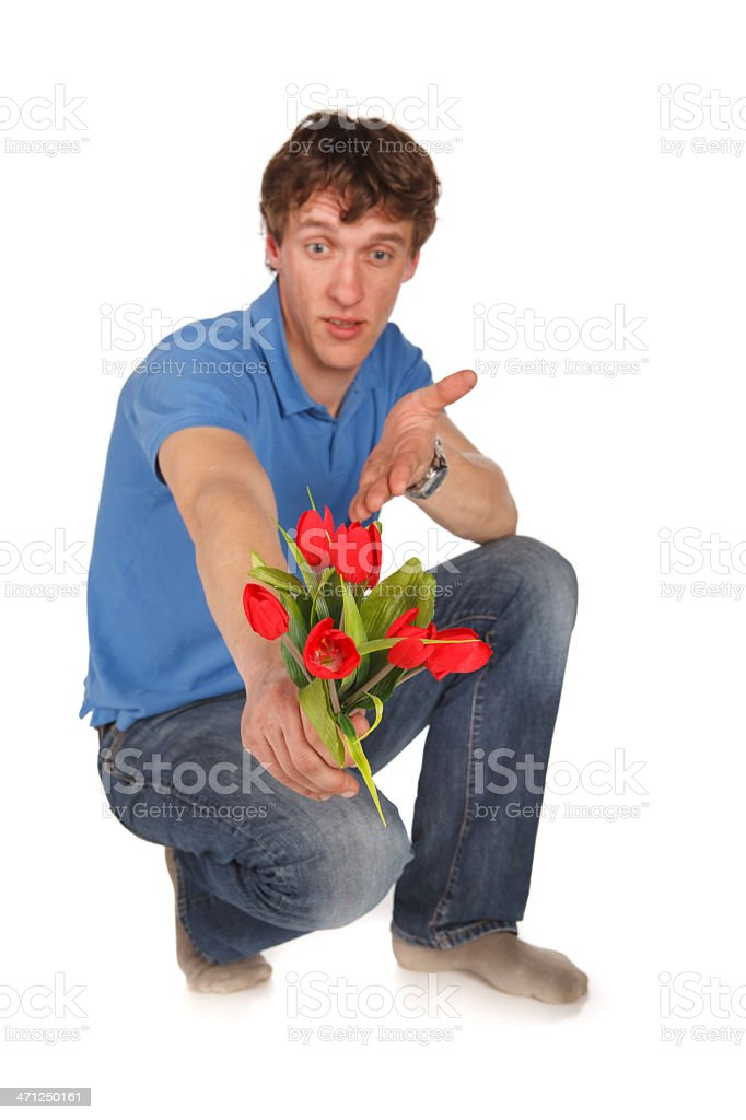 Cheerful man with flowers royalty-free stock photo