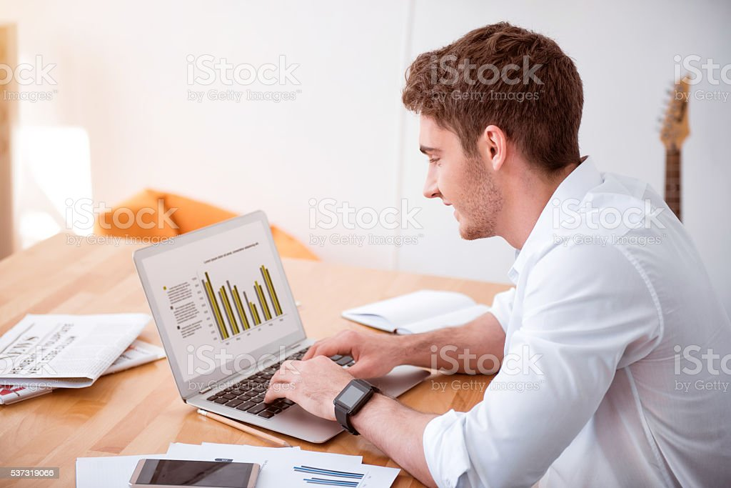 Cheerful man working on the laptop stock photo