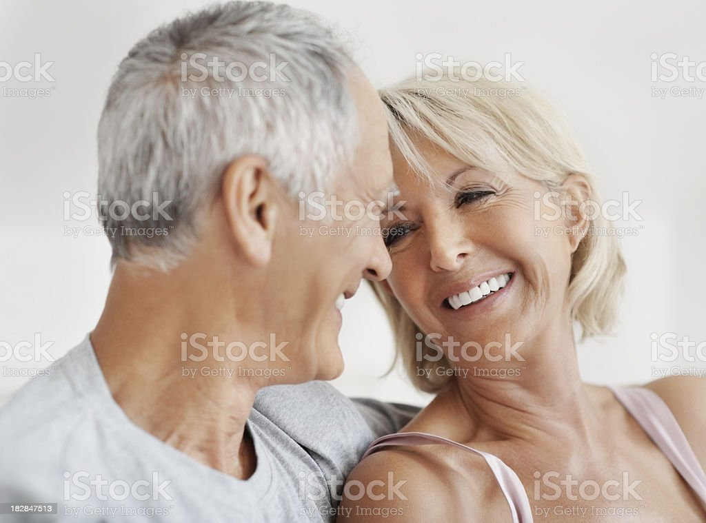 Cheerful mature couple looking at each other royalty-free stock photo