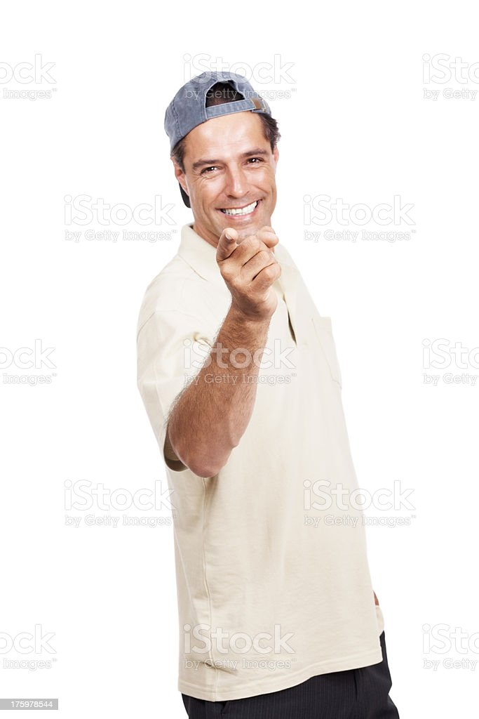 Cheerful mature man pointing in front isolated on white stock photo