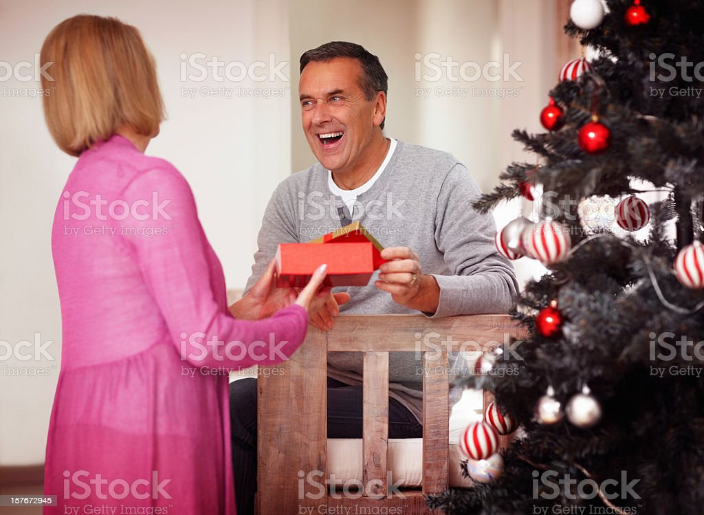 Cheerful mature man with wife holding gift near Christmas tree royalty-free stock photo