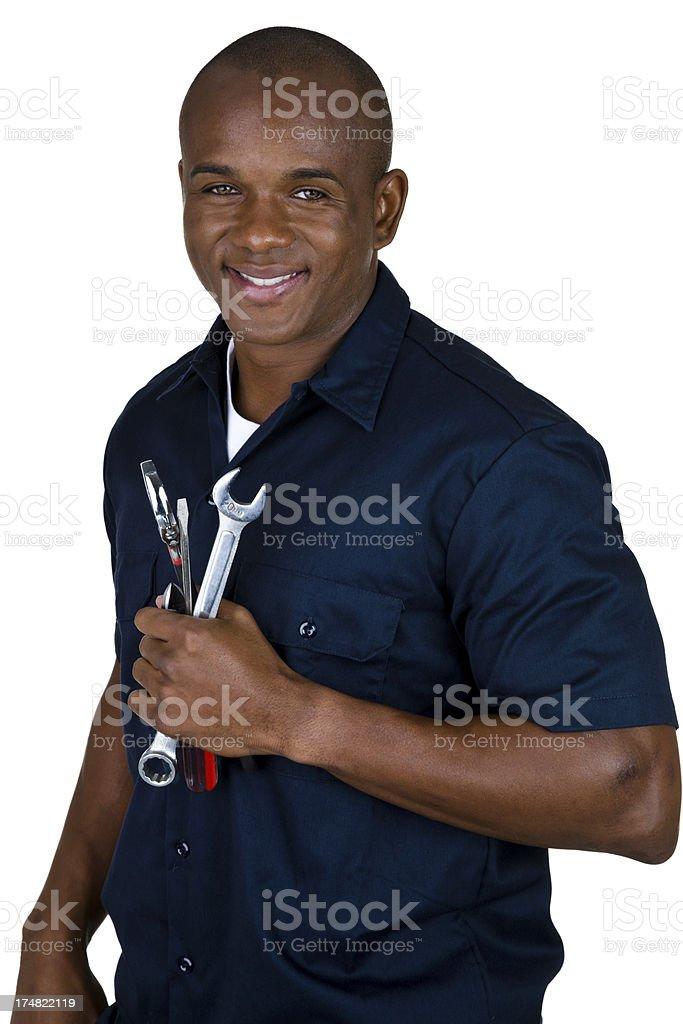 Cheerful mechanic stock photo
