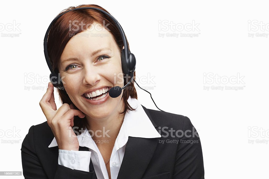 Cheerful middle aged woman wearing headset royalty-free stock photo