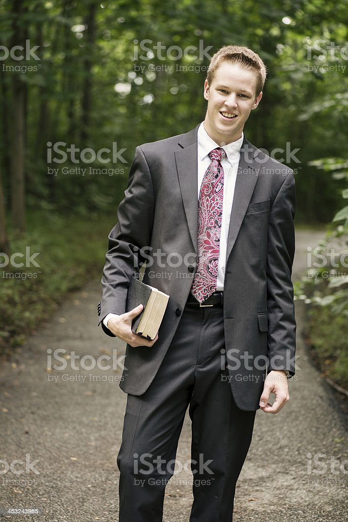 Cheerful Missionary stock photo