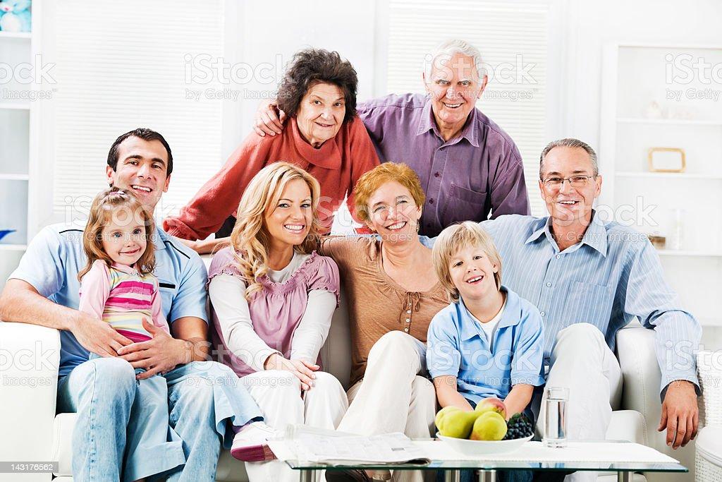 Cheerful Mufti Generation Family enjoying at home stock photo