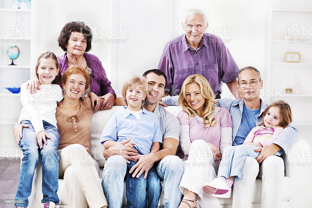 Cheerful Mufti Generation Family enjoying at home. stock photo