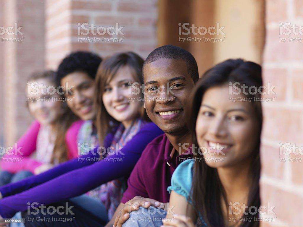 Cheerful multi ethnic friends stock photo