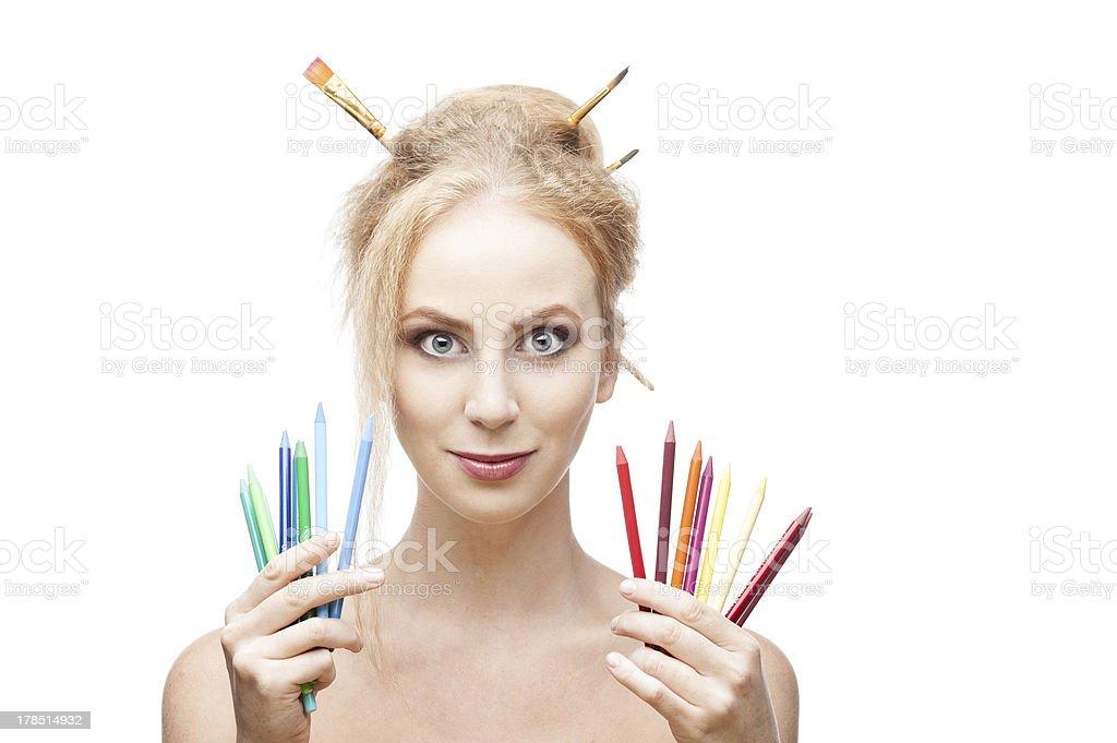 cheerful painter girl royalty-free stock photo