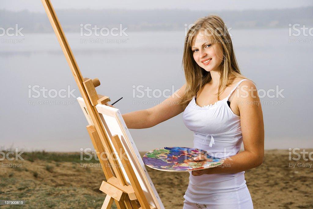 Cheerful painter royalty-free stock photo