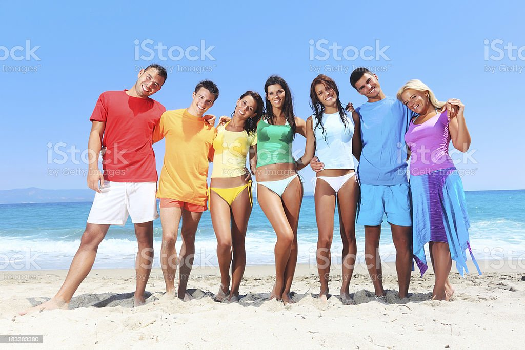 Cheerful people on the beach royalty-free stock photo