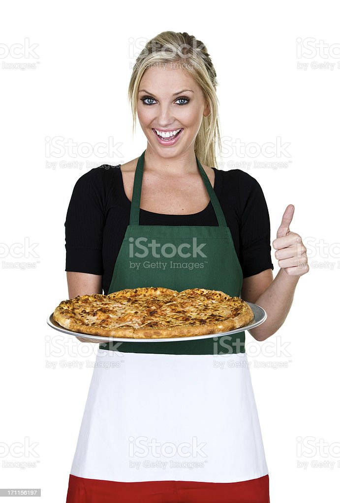 Cheerful pizza woman royalty-free stock photo