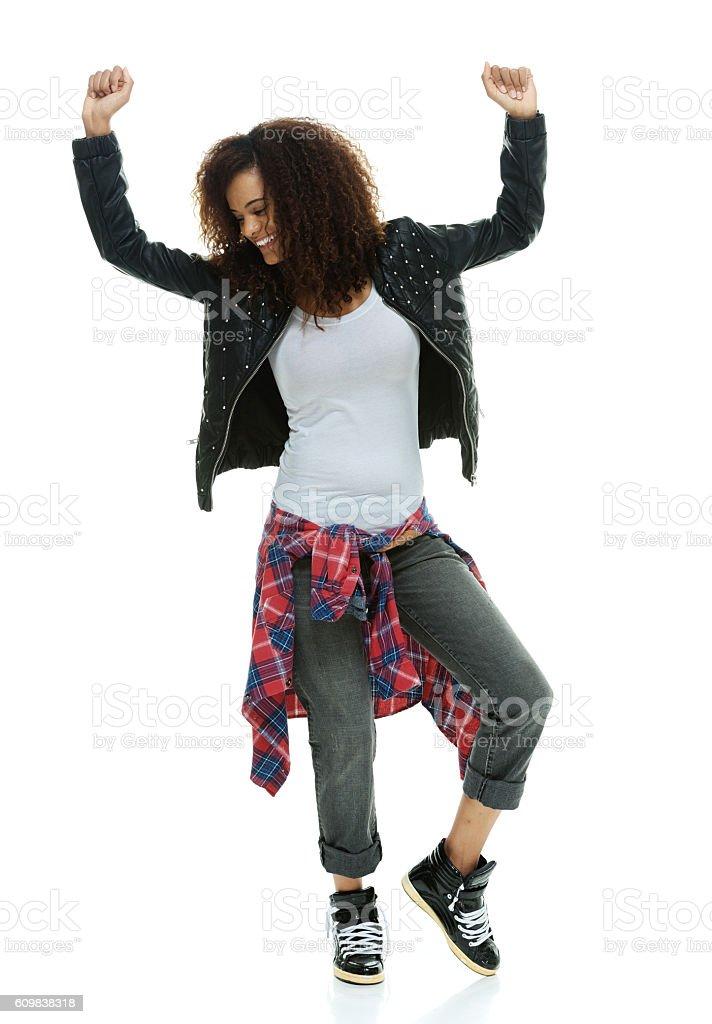 Cheerful punker dancing stock photo
