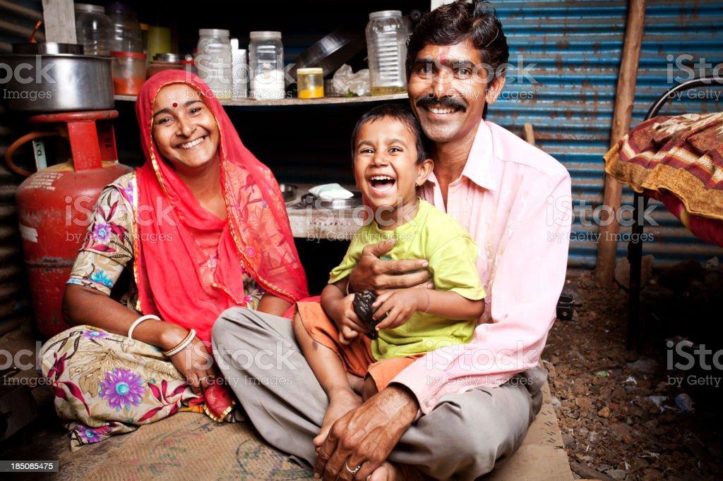 Cheerful Rajasthani rural indian family stock photo