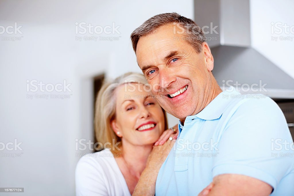 Cheerful retired man with wife spending time together royalty-free stock photo