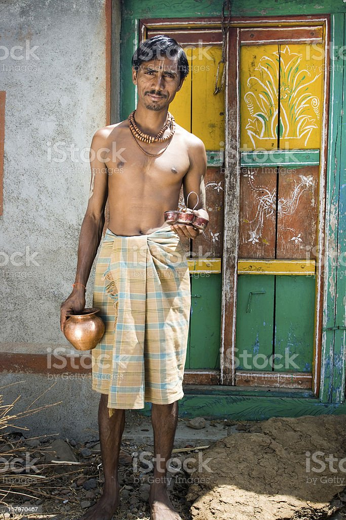 Cheerful Rural Indian Brahmin stock photo