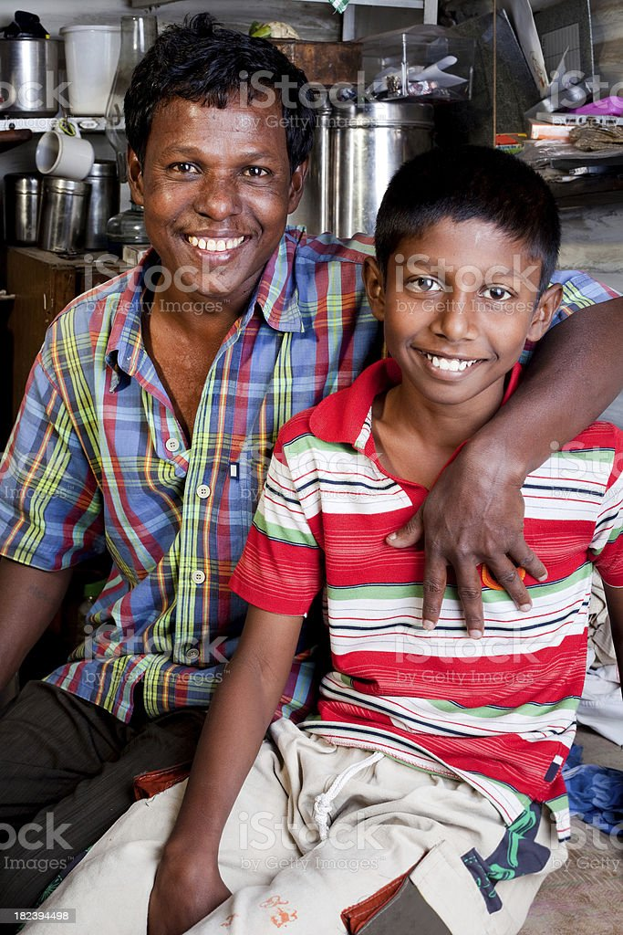Cheerful Rural Indian Father and Son royalty-free stock photo