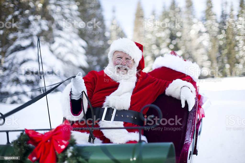 Cheerful Santa Claus on Sleigh in Snow, Copy Space stock photo